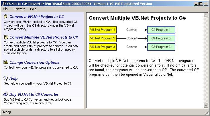 Click to view VB.Net to C# Converter 2.25 screenshot